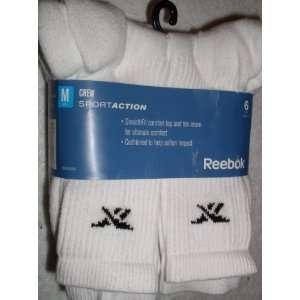 Mens Crew Socks, 6 Pair, White, Socks Size 8 12
