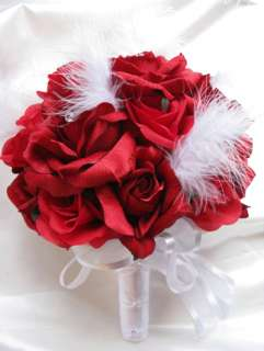 Wedding Bouquet Bridal silk flowers APPLE RED WHITE FEATHER bouquets