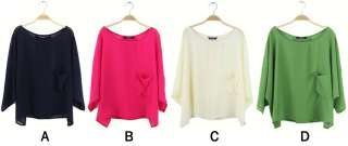 4Color Women Lady Batwing Irregular Hem Cardigan T shirt Blouse