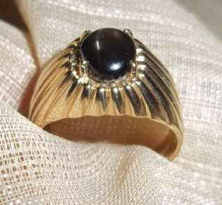 Mens 14k yellow gold cats eye solitare ring 9 3/4