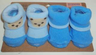 Pair FADED GLORY Newborn Baby Boy Socks Booties NWT Set B
