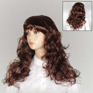 Women Cosplay Brown Curly Hair Wig Hairpiece W Bangs
