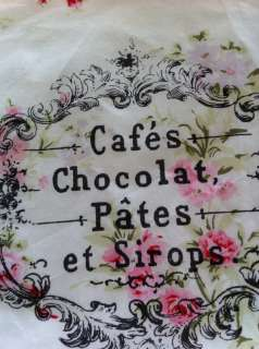Rachel Ashwell Wildflower Fabric~French Script Vintage Ad Print~Shabby