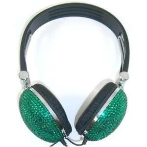 Green Crystal Rhinestone Bling Dj Over ear Headphones