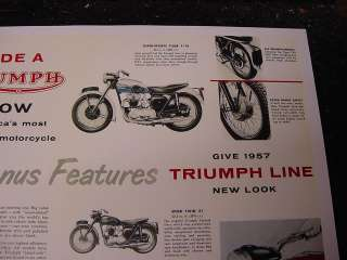 1957 TRIUMPH MOTORCYCLE All Models SALES POSTER 5T TR6 Speed Twin