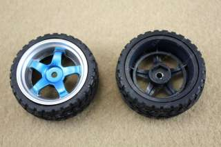 2x 65mm Small Smart car model robot tire / wheel