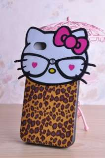 Hello Kitty Full body Leopard pattern Silicon Case Cover for Apple