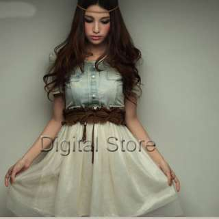 Women Vintage Jean Denim Party Dress Retro Girl Blue Top White Skirt