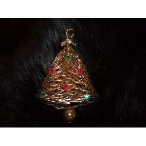 VINTAGE Gold Wire Christmas Tree Pin with Rhinestones
