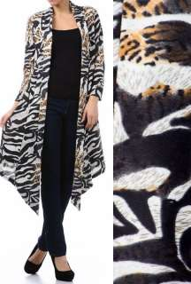 New Long Sweater Cardigan Jacket Black White Gold Animal Small Medium