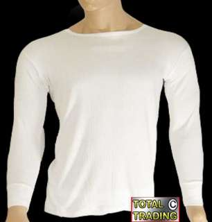 Mens thermal underwear 2 WHITE long sleeve vest XL