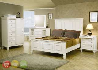 King White Wood Panel Bed 6 Piece Bedroom Set w/ Chest
