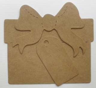 LARGE GiFT w/ BOW & TAG* Present Raw Bare Unfinished Chipboard
