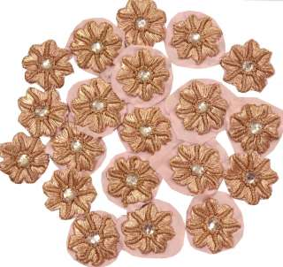 VINTAGE 5 APPLIQUE PATCH DECO CRAFT SCARP LIGHT PINK BEADED FLOWERS