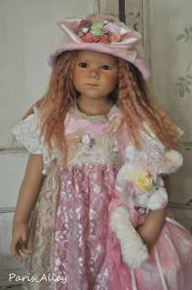 Pink Saphire~French Lace Dress, Teddy Bear & Hat Set 4 HIMSTEDT Doll