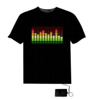 Light Up LED Sound Activated T Shirt Dance Rave Party Sz S 3XL