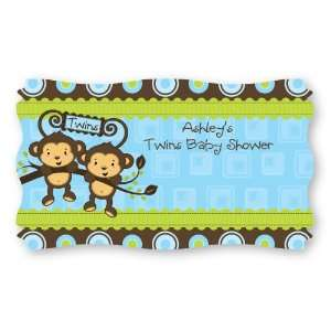 Twin Monkey Boys   Set of 8 Personalized Baby Shower Name