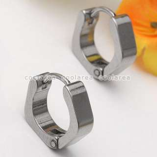 16g Stainless Steel Square Hoop Huggie Earrings 2pc