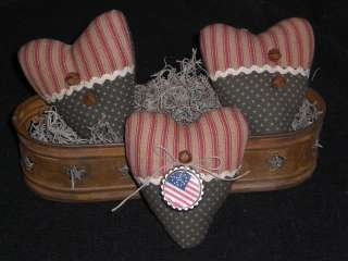 Primitive Americana Hearts Bowl Fillers Ornies Tucks