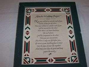 Framed Print of Apache Wedding Prayer