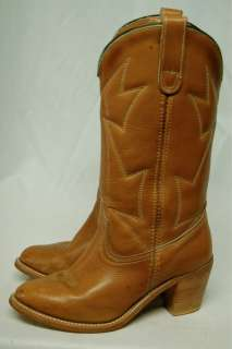 VINTAGE LEATHER WESTERN HIGH HEEL COWBOY BOOTS WOMENS 8 M