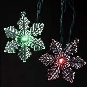 Set of 10 LED Multi Colored Snowflake Christmas Lights