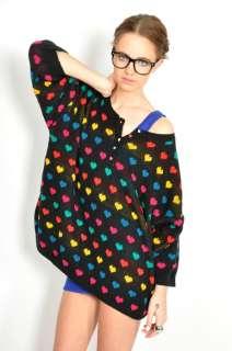 Vtg 80s Rainbow COLORFUL HEART PRINT Box Cut SLOUCHY Knit JUMPER