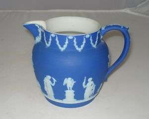WEDGWOOD DARK BLUE & WHITE JASPERWARE MILK PITCHER