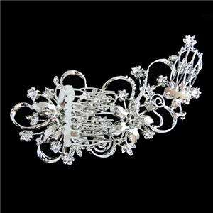 38 Wedding Flower Ribbon Hair Comb Swarovski Crystal