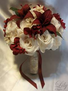 17pcs Wedding Bridal Bouquet Flowers Bride Bridesmaid Boutonniere