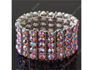 Pink Rhinestone Crystal Stretch Bracelet bangle