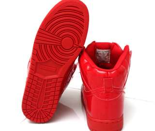 NEW Mens Shiny Red High Top Fashion Sneakers Trainers Shoes size US 6