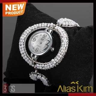 Alias Kim White Beauty Lady Girls Bracelet Wrist Watch
