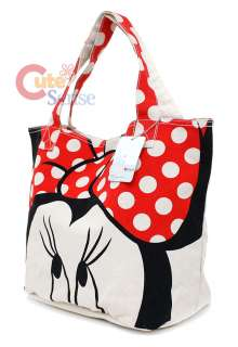 Disney Minnie Mouse Tote Bag Big Face CanvasLoungefly