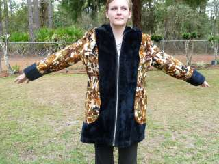 Vtg Womens CoS Abstract Browns TAPESTRY Faux FUR Hooded