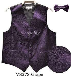 New Mens tuxedo vest waistcoat paisley with bow tie dark purple 2XL