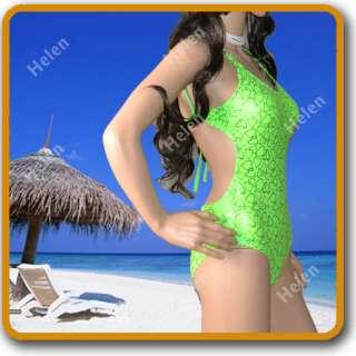 Greens Lovely heart blingbling Fashion ladies one piece Monokini