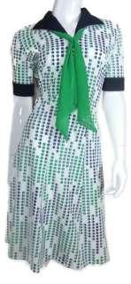 Vintage Sailor Style Dress Size 16 Green Blue Polka Dots Green Scarf