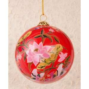 Hand Painted Glass Ornaments   Lotus Pond Scenery