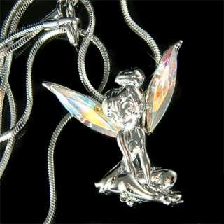 Fairy w Swarovski Crystal AB Tinkerbell ANGEL Wings Charm Pendant