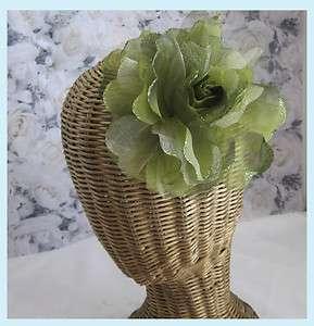 Green Silk & Sheer Rose Hair Clip / Brooch