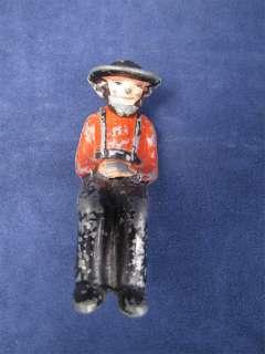 Vintage Painted Cast Iron Amish Farmer Sitting Figure