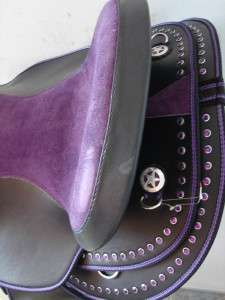 16 PURPLE BLING BLACK WESTERN HORSE SADDLE ARAB BARREL