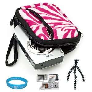 Carrying Case with Pink Zebra Fur Exterior for Sony Cyber shot DSC