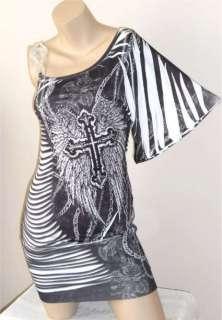 CRYSTAL CROSS CHAIN ANGEL WINGS TATTOO ONE SHOULDER MINI DRESS & ED
