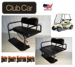 Club Car DS Golf Cart Rear Flip Down Seat Kit BLACK (FAST FREE