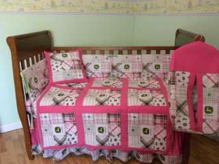 John Deere Baby Nursery Crib bedding set Pink Madras