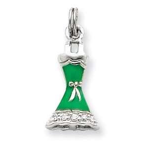 Silver CZ & Green Enameled Dress Charm West Coast Jewelry Jewelry