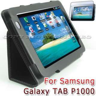 BLACK LEATHER STAND CASE COVER+SCREEN PROTECTOR FOR SAMSUNG GALAXY TAB