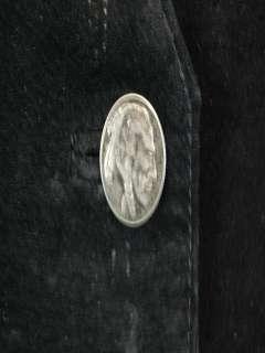 VTG 70s BLACK LEATHER VEST INDIAN HEAD BUTTON WESTERN COWBOY BULL
